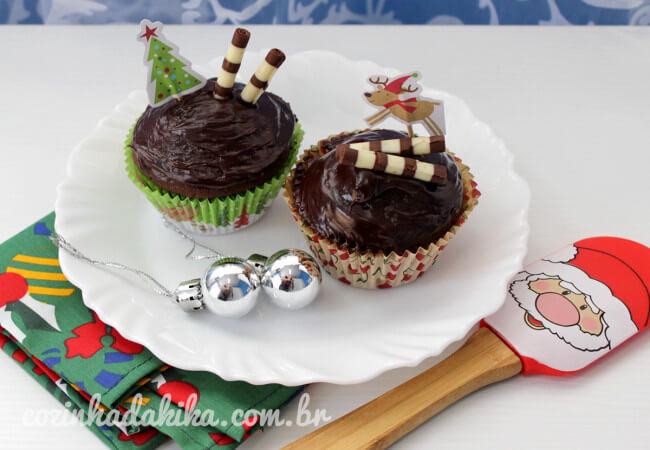 Receita de Cupcakes de Chocolate com Ganache
